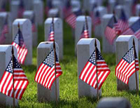 American Flags on Graves for Memorial Day